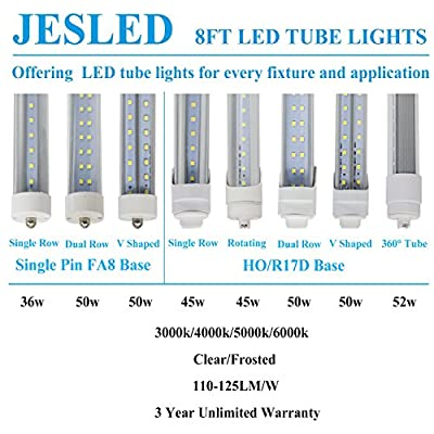 JESLED 8FT R17D/HO LED Tube Light Bulbs - 45W (100w Equivalent), 6000K, 4800LM, Frosted, Dual Ended Power, Ballast Bypass, T8/T10/T12 8 Foot F96T12/CW/HO Fluorescent Bulbs Replacement (4-Pack)