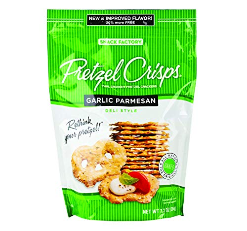 Snack Factory Deli Style Pretzel Crisps, Choice of 6 Different Flavors- Four 7.2 oz. Bags (Garlic Parmesan)