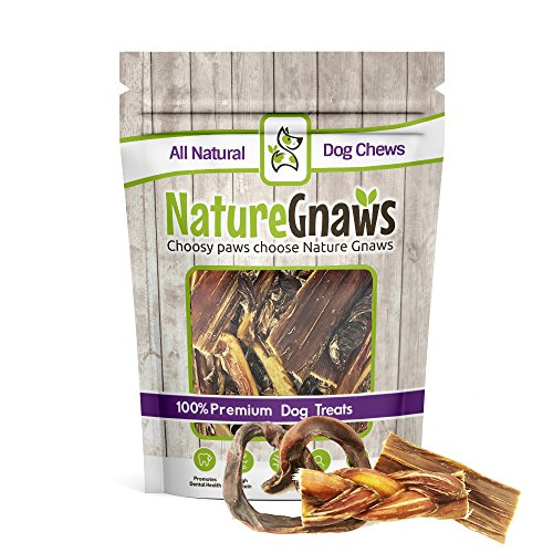 Nature Gnaws Beef & Pork Dog Chew Combo (12 Count) - (4) Braided Bully Stick Bites, (4) Porky Pretzels & (4) Jerky Treats for Small Dogs