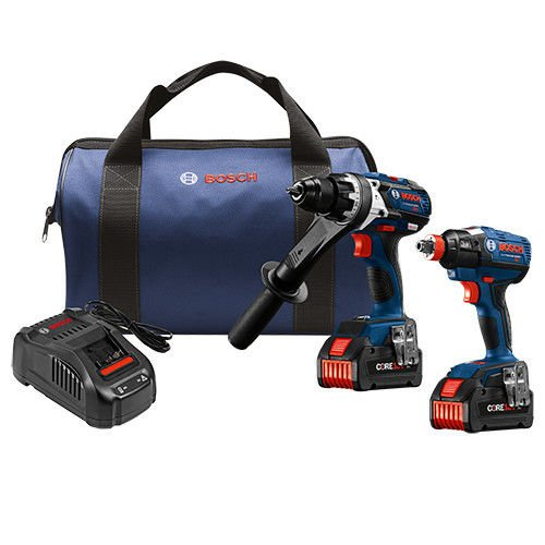 Bosch GXL18V-225B24-RT 18V 6.3 Ah Cordless Lithium-Ion Hammer Drill and Impact Driver Combo Kit (Certified Refurbished)