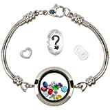 Floating Locket Charm Bracelets For Women, Fits European Bead Charms, Magnetic, 25mm, 7.5 Inch