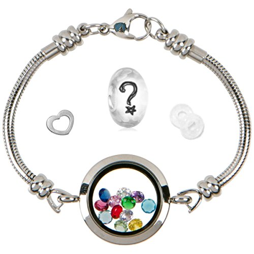 (Floating Locket Charm Bracelets For Women, Fits European Bead Charms, Magnetic, 25mm, 7.5 Inch)