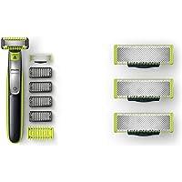 Philips Oneblade Cara + Cuerpo Qp2630/30 Recortador De Barba Recargable Con Peine-Guía Para El Cuerpo + Qp230/50…