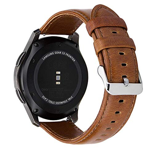 (MroTech Compatible for Gear S3 Frontier Band 22mm Vintage Leather Watch Strap Quick Release Watch Band for Samsung Gear S3 Frontier/Classic,Galaxy Watch 46mm,Amazfit Pace,Pebble Time)