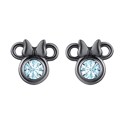9d07aa63bb823 Amazon.com: Dazzling Mickey Mouse Stud Earrings 18k Black Gold Over ...