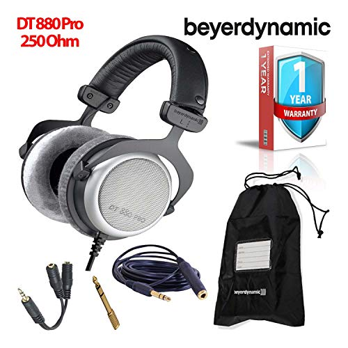 Beyerdynamic DT 880 Pro 250 Ohm Semi-Open Studio Mixing Headphones -Includes- Soft Case, Splitter, and 1-Year Extended - Headphones Dt Beyerdynamic 880