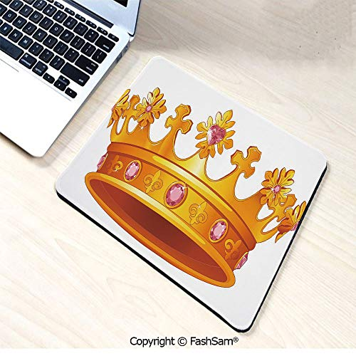 Mouse Pads Golden Color Crown with Pink Gemstone Figures Antique Tiara Nobility Symbol for Home(W7.8xL9.45)