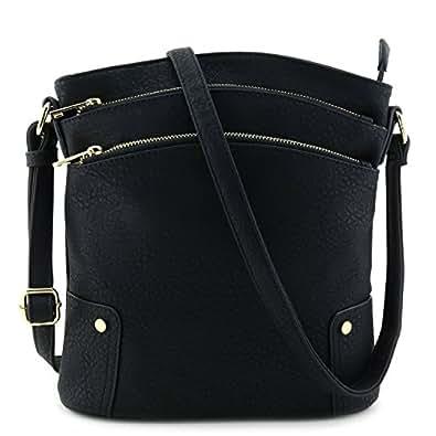Triple Zip Pocket Large Crossbody Bag Black