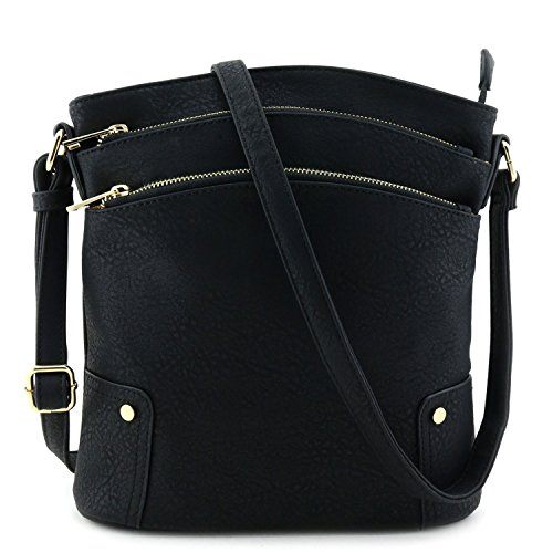 Triple Zip Pocket Large Crossbody Bag Black Pocket Large Handbag