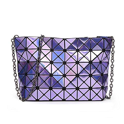 Plegables La Bolsita Cadena Geométrico De Hombro Treasureblue Púrpura Myll Señoras Mujeres Paquete Del Bolso Las De La De RwzWY8q4n
