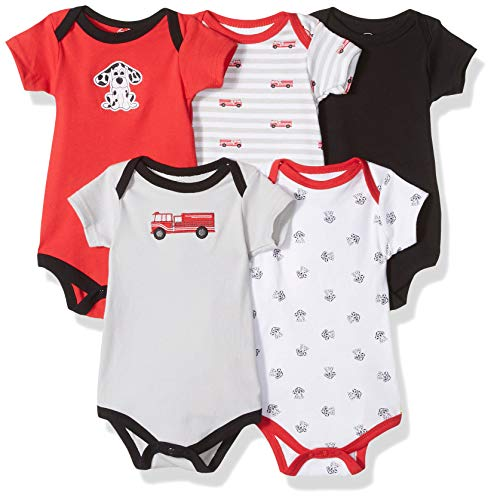 Luvable Friends Unisex Baby Cotton Bodysuits, Fire Truck Pink Short Sleeve 5 Pack, 0-3 Months ()