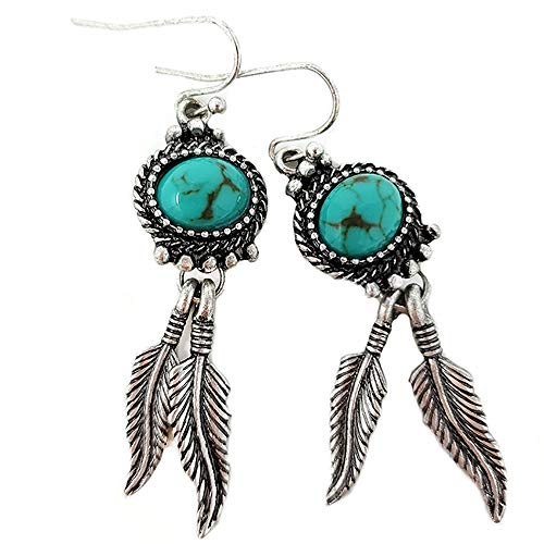 (Western Concho Feather Dangling with Turquoise Fish Hook Earring Navajo)