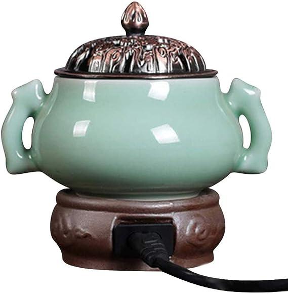 アロマディフューザー エッセンシャル・オイルバーナーパウダー屋内炉タイミング香炉陶器Scentsyウォーマーディフューザー温度調節可能な電子アロマセラピー (Color : D)