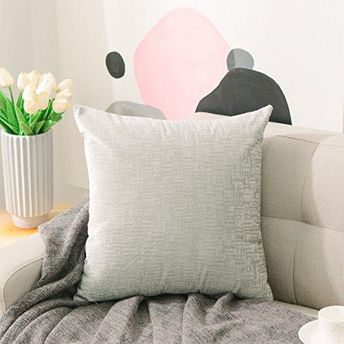 HOME BRILLIANT Soft Striped Velvet Textured Large Throw Euro Pillow Sham Cushion Cover with Zipper for Floor, 26 x 26(66cm), Light Grey (Six Twenty Light)