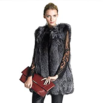 Winter Womens Coat Overcoat Faux Fur Vest High-grade Long