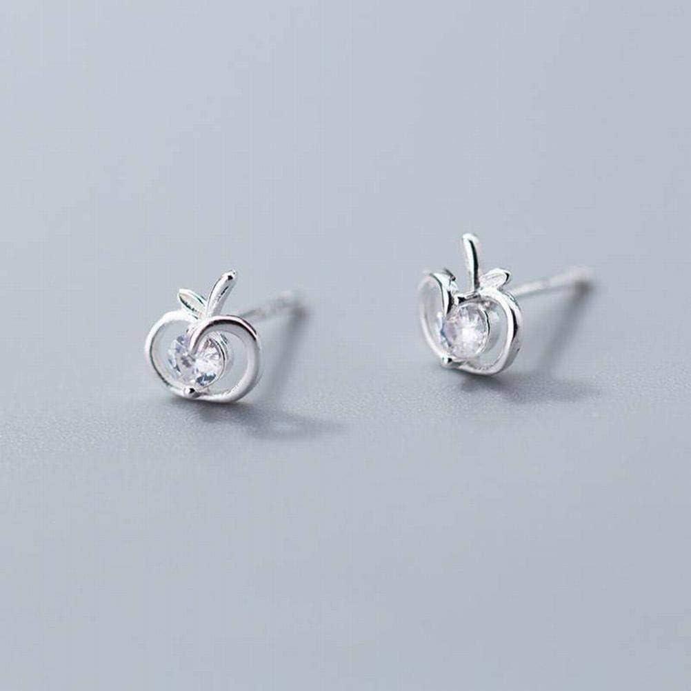 WOZUIMEI Earring Dangler Eardrop Stud Earring S925 Silver Earrings Women's Fashion Diamonds Hollowed Out Apple Earrings Delicious Fruit Ear Jewelry for Women, Silver, 925 Silver