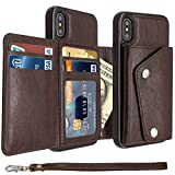 Mdkrz iPhone X Case, iPhone X Card Holder Case,Premium PU Folio Flip iPhone X Wallet Case with Credit Card Slots Shock-Absorbing Protective Case for iPhone X (iPhone X, Brown)
