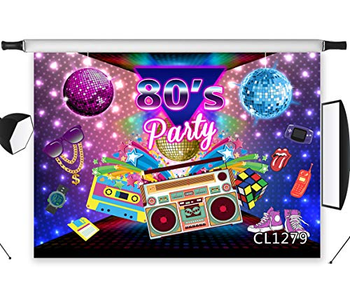 LB 80s Disco Party Backdrops 9x6ft Fabric Retro Recorder Hip Hop Music Background 80s Party Birthday Party Cake Table Banner Photo Booth Backdrop Props,Washable -