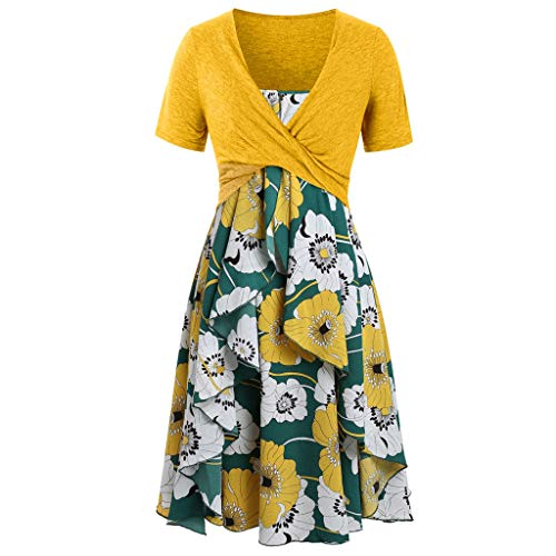 Pervobs Dress for Women Short Sleeve Bow Tie Front Knot Loose Flowy Floral Print Mini Dress Suits Holiday Workout Falda(L, Yellow - Dress Neck Floral Scoop Bubble