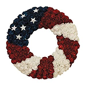 Gerson Soft Rose Americana Wreath, Patriotic Wreath 17 Inch Diameter, Roses and Stars, Red White and Blue 4th of July Decorating 20
