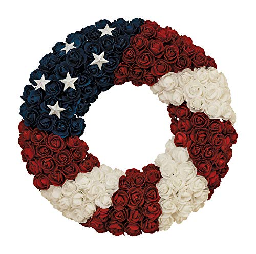 Gerson Soft Rose Americana Wreath, Patriotic Wreath 17 Inch Diameter, Roses and Stars, Red White and Blue 4th of July Decorating