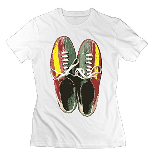 WuLion Vintage Bowling Shoes Retro Women's Comfortable Short Sleeve T Shirt White XL (Kirklands Lamps)