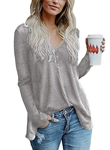 (ALALEI Womens Long Sleeve Henley Blouse Fall Button Down Pullover Knit Loose Leisure Stylish Sexy Knit Sweaters Tops (X-Large, Light Gray-3))