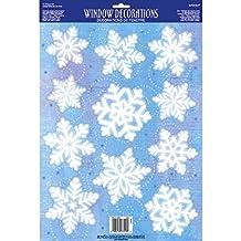Winter Wonderland Christmas Party Snowflake Vinyl Window Decoration, White, Vinyl, Assorted Sizes, 11-Piece
