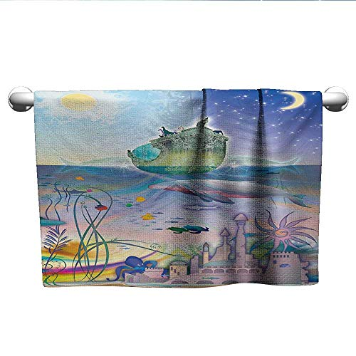 LilyDecorH Navy,Best Bath Towels Ancient Underwater with Octopus and Castle Pirate Ship Coral Reefs Fantasy Art Print Eco-Friendly Multicolor W 35