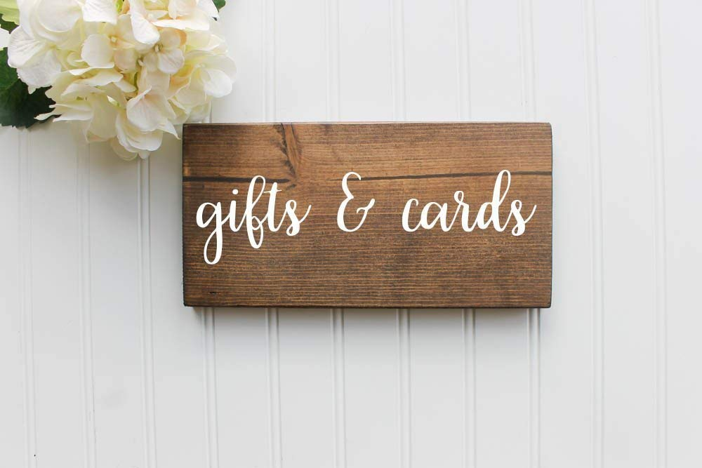 Gifts and Cards Rustic Wooden Farmhouse Wedding Sign 5x11