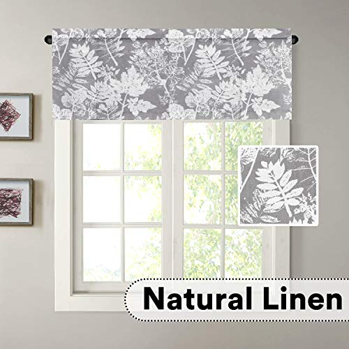 H.VERSAILTEX Elegant Floral Rich Linen Window Curtain Home Fashion Easy Care Valance for Small Window, Grey Leaf and Flower, 52 by 18 Inch, Rod Pocket, 1 Panel