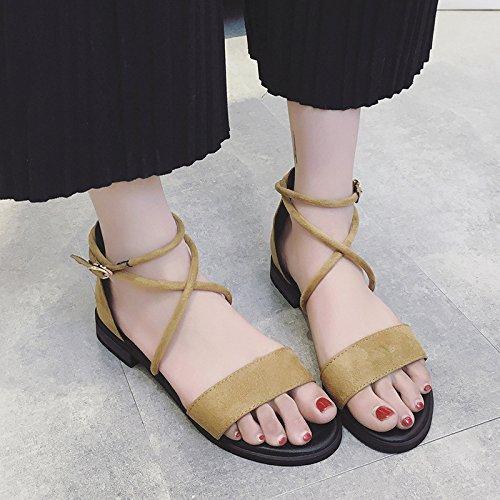 Vacances Hope Bohème De Style Souliers Toe Sandales De Brown Ouvert pour Daim De Chaussures en Bout Plage Plates Femmes à 47RZqr4w