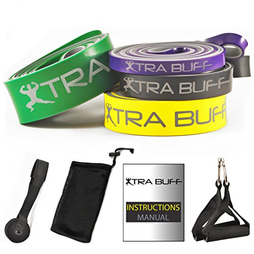 Pull-Up Bands Set by Xtra Buff - 4 Resistance Bands + 4 Accessories | Perfect for Stretching, Powerlifting & Pullup Workouts | Premium Quality Heavy Duty Latex | Suitable for Men, Women & Kids