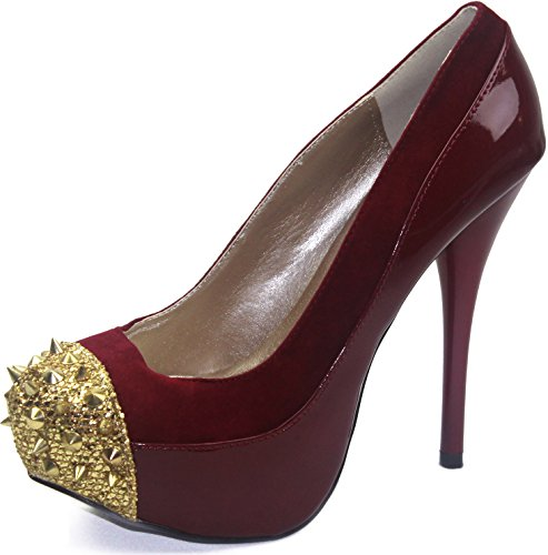 Women's Qupid Neutral-284 Red Spikes Studs Front Platform Shoes, Red , 6.5 (Qupid Pumps)