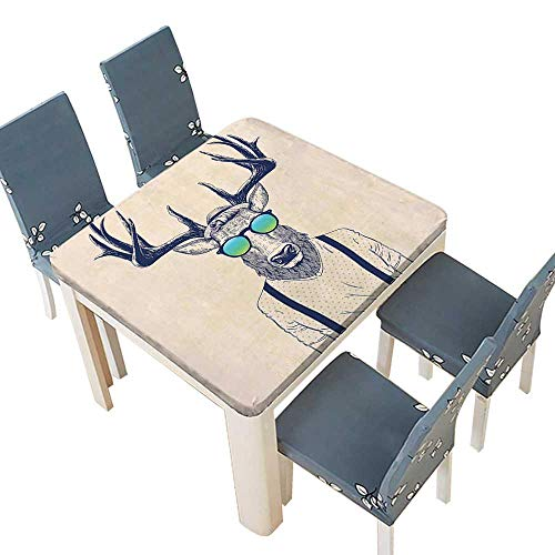 PINAFORE Indoor/Outdoor Polyester Tablecloth Illustration of Deer Dressed Up Like Cool Hipster Fashion Creative Fun Animal Art Wedding Restaurant Party Decoration 29.5 x 29.5 INCH (Elastic Edge) for $<!--$19.99-->