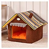RunHigh House Shape Pet Bed Windproof Warm Cozy Removable Soft Pad Sleep Home For Cat Dog Rabbit