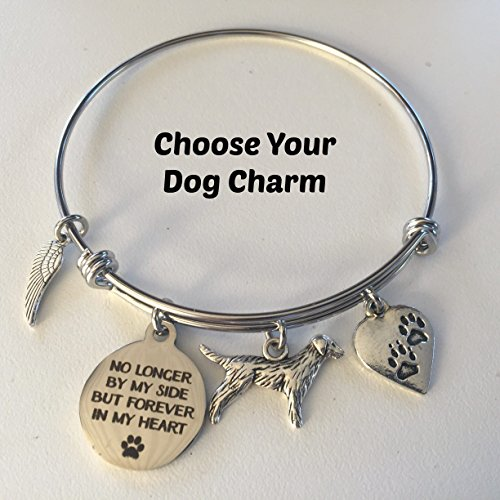 No Longer By My Side But Forever In My Heart Memorial Bracelet for Rainbow Bridge Pet Loss ~ You Choose Pet Charm and Initial
