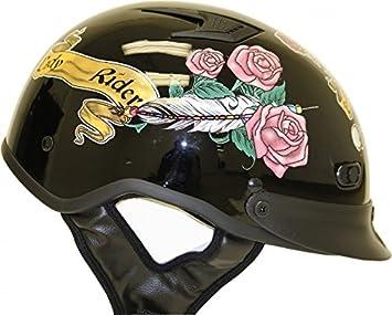 Lunares negro de la mujer Lady Rider motocicleta mitad casco con rosas