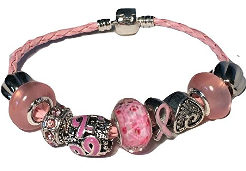 (Pink Breast Cancer Awareness Charm Bead Bracelet Murano)