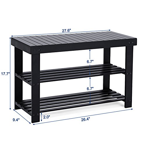 SONGMICS Black Shoe Rack Bench,3-Tier Bamboo Shoe Organizer,Storage Shelf,Holds Up to 264 Lbs, Ideal for Entryway Hallway Bathroom Living Room and Corridor ULBS04H by SONGMICS (Image #4)