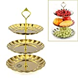 Fruit Plate, Petforu 3 Tier Fruits Cakes Desserts Plate Stand Gold Color Stainless Steel Plates