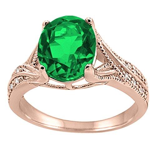 Diamond & Emerald Antique Ring - 6