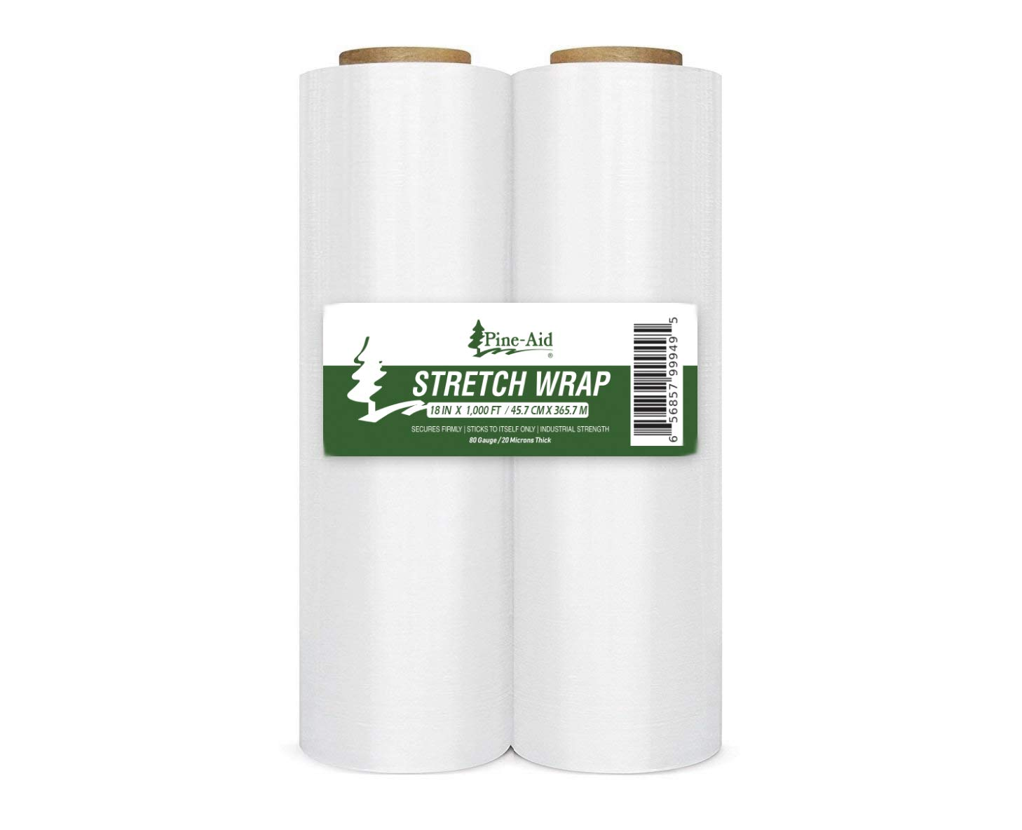 Stretch Wrap - 18'' X 1000 Sq Ft X 80 Gauge (20 Microns) Industrial Strength Thick & Most Durable, Self-Adhesive Film - Cling/Shrink/Pallet Wrap Best for Packing and Moving (2)