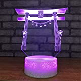 USB Powered Stunning Door 3D Touch Optical ILLusion Night Light Crackle Paint Base 7 Colors Changing Beside Table Desk Deco Lamp Bedroom Nightlight Toy for Kids Gifts