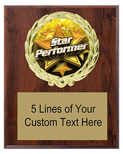 (Express Medals 5x7 Cherry Color Star Performer Plaque Award Trophy with Engraved Plate FCL551)