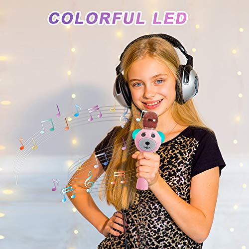 Upgraded 2019 Version Kids Karaoke Microphone with Bluetooth, Magic Voice Changer, and Flashing Multicolored LED Lights(Pink) by Garoma (Image #1)
