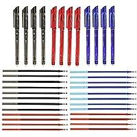 RHardware 12 bolígrafos de tinta negra, roja, azul, borrable de 0,5mm y 24 recambio de gel de bolígrafos, papelería…