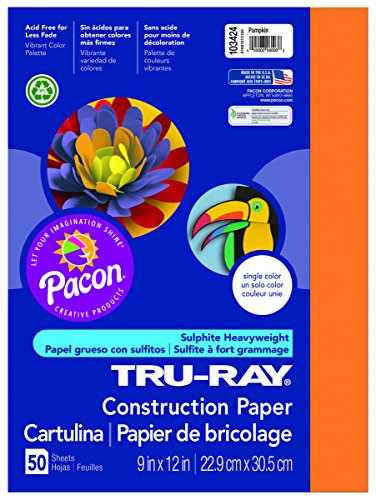 Pacon Tru-Ray Construction Paper, 9-Inches by 12-Inches, 50-Count, Pumpkin (103424)