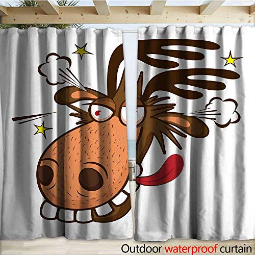 Outdoor Blackout Curtain Moose On The Loose Moose Face Picture Cartoon Smile Deer Vector Drapery W120 x L108
