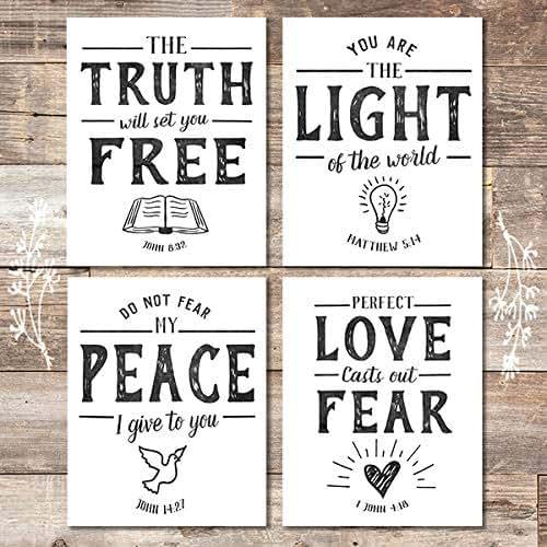 Bible Verse Wall Art Prints (Set of 4) - Unframed - 8x10s | Scripture Wall  Art